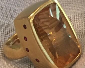Laser cut citrine ring