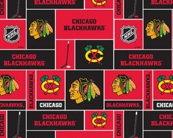 NHL CHICAGO BLACKHAWKS Patchwork Fleece fabric material by the 1/2 yard liscensed for Crafts, Quilts, clothing and Home Decor