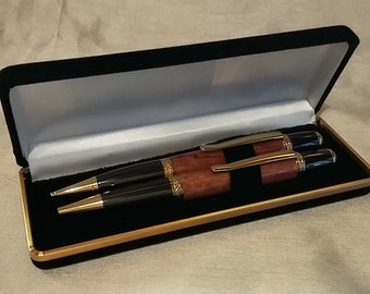 Handmade Sierra twist pen and pencil set in case, bubinga, gift, present