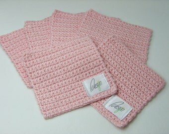 Pink crocheted trivet