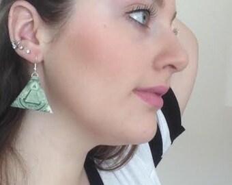 money origami  dollar bill triangle earrings