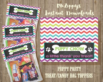 Puppy Dog Party- Candy or Treat Favor Bag Toppers INSTANT DOWNLOAD