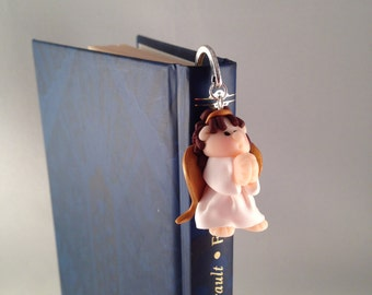 Bookmark with Angel fimo-Bookmark with polimery clay angel