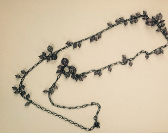 Long Necklace with gray  beads