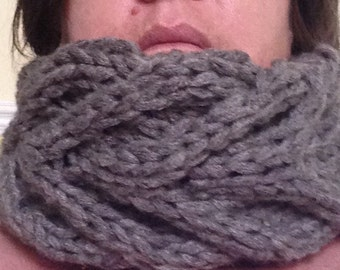 Hand knitted cable cowl scarf