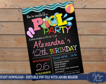Pool Party Invitation, Birthday Pool Party, Pool Party Birthday Invitation, Self Editable PDF file, Instant Download, Girl Invitation