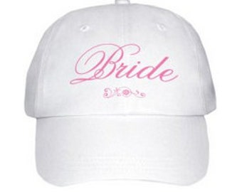 Bride Bridesmaids Baseball Cap Hat White Pink Stitching