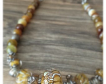 Agate Necklace - womens necklace- boho necklace- Glass Lampwork Beads - Amber Waves