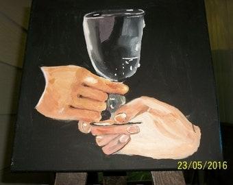 Empty wine goblet