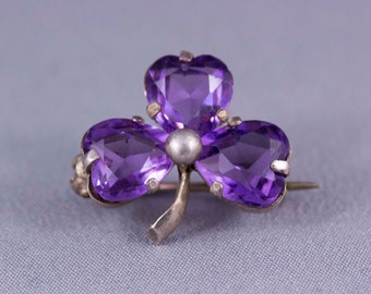 Antique Sterling Silver and Paste Clover Brooch - 1907 Chester Hallmarks - Made by Charles Horner
