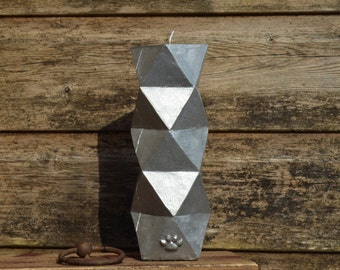 Sparkly silver geometric pillar candle