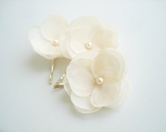 Cream Flower Hair Pins Pearl Bridal Hair Piece Wedding Hair Accessories Cream Hair Clip Bridesmaid Flower Girl Hair