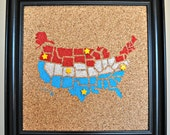 USA Themed Push Pin Cork Map of the United States (Tri-Color States) Travel Bulletin Board Tracker