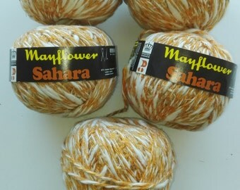 Orange and white yarn, orange yarn, linen yarn, cotton yarn, Mayflower Sahara, yarn lot, cheap yarn, medium yarn, worsted yarn, aran yarn