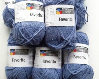 Blue yarn, cotton yarn, knitting yarn, crochet yarn, Schachenmayr SMC Favorito, cheap yarn, yarn lot, medium yarn, worsted yarn, afghan yarn