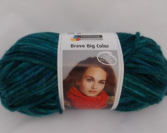 Blue multicolor yarn, teal, knitting yarn, crochet yarn, Schachenmayr Bravo Big Color, super bulky yarn, cheap yarn, yarn lot, roving yarn