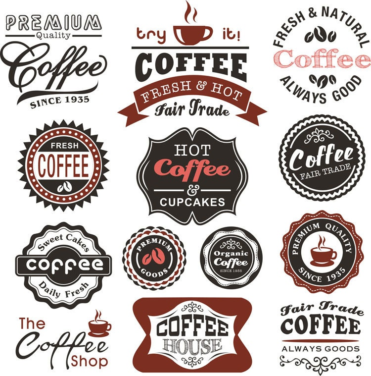 Jar label coffee labels fresh coffee stickers tag clip art