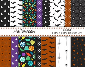 Haloween digital paper - 15 printable jpeg papers, 3600x3600 px - halloween backgrounds - bat, spider, ghost and candy pattern