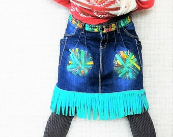 Artpainted recycled fantasy denim skirt with fringe
