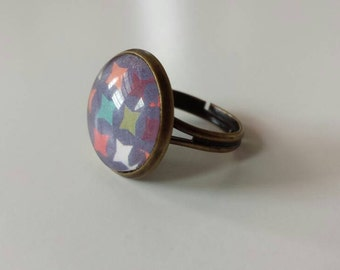Harlequin ring, purple