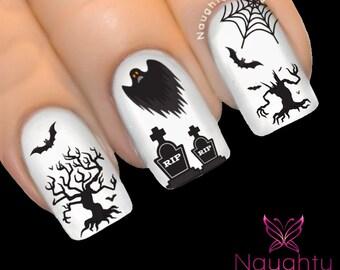 Spooky Graveyard Halloween Nail Water Transfer Decal Sticker Art Tattoo Ghost Tombstone H-101