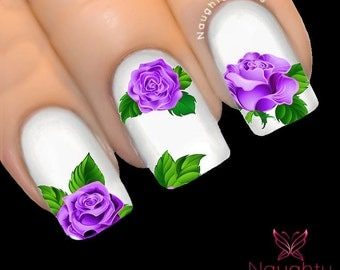 MAJESTIC Lavender PURPLE Rose Nail Water Transfer Decal Sticker Art Tattoo NNF-104