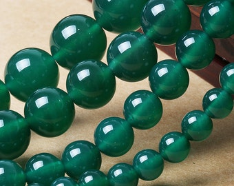 Natural Green Agate, Natural Stone Beads, Green Agate Beads, Round Beads, Semi Precious, Gemstone Beads, Agate, 4 6 8 10 12 14 mm, (AB005)