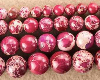 Rose Red Imperial Jasper, Emperor stone, Imperial Jasper Beads, Round Beads, Jade Beads, DIY Jewelry, 6 8 10 mm, (OB028)