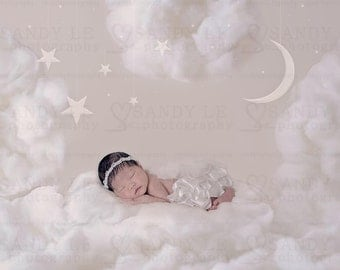 Newborn Clouds with Moon and Stars Digital Backdrop