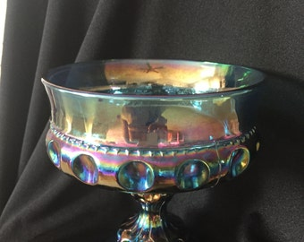 Beautiful Iridescent Blue Thumbprint King's Crown Carnival Glass Candy Dish, Compote or Decorative Display!