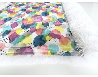 Organic Baby Blanket - Minky Water Color Clouds