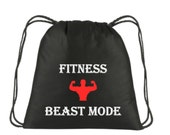 tote drawstring gym gift bag, Fitness beast mode drawstring back pack, drawstring book bag/ beach bag/ drawstring bookbag / draw string bag