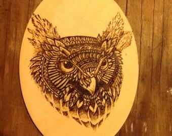 Owl wood burning