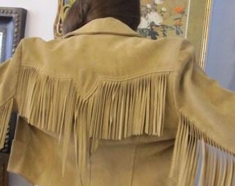 Vintage Leather Fringe Jacket Size 14