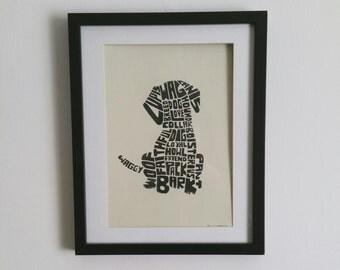 Dog Calligram Ink Print
