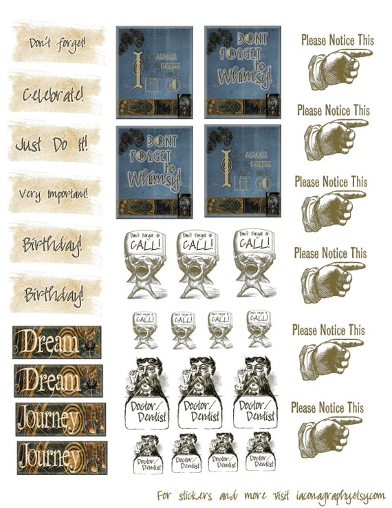 Celestial Steampunk Planner Stickers