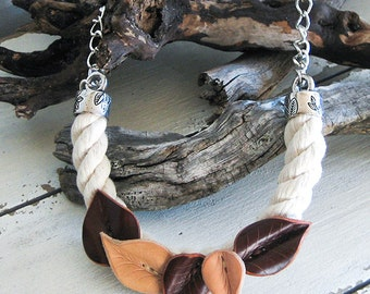 Big necklace. cotton rope and leather necklace. Bib-necklace