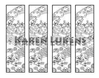 Happy Hills Bookmarks, 1 Adult Coloring Book Page, Printable Instant Download