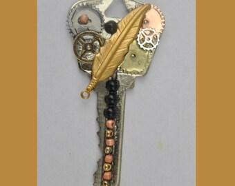 Steampunk style vintage key pendant