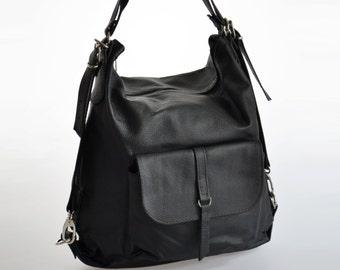 Black LEATHER Rucksack, LEATHER BACKPACK Women's Shoulder Bag School Handbag iPad Case Purse Leatcher Tote Bag Crossbody Bag Leather Handbag