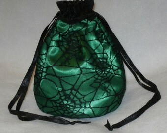 Green Satin & Black Gothic Spider Web Lace Dolly Bag Evening Handbag / Purse Prom Halloween Costume