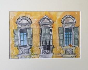 Les fenêtres à la place Garibaldi , Nice , France