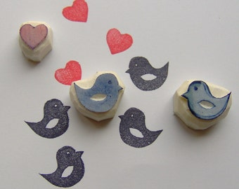 Love birds stamp, set of 3, lovebirds rubber stamp, bird stamp, wedding stamp, cute stamp, rubber stamp, love birds, birds, stamp, diy