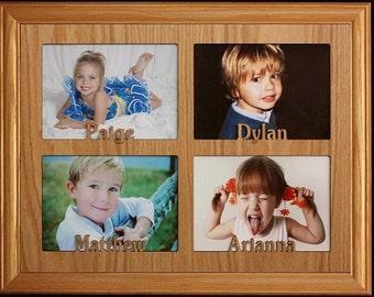 5x7 Jumbo Personalized Triple Photo Name Frame Holds Three