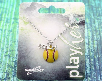 Customizable Softball Coach Enamel Necklace - Personalize with Number, Heart, or Letter Charms! Great Softball Coach Gift!