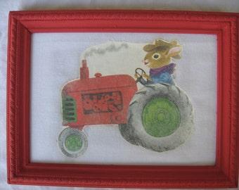 Richard Scarry's Bunny on Tractor Nursery Art