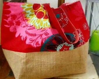 Raspberry tote bag & burlap