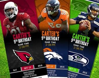 NFL Custom Ticket Birthday Party Invitations