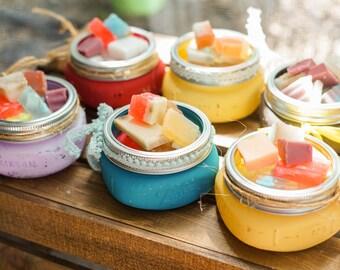 Mason sample soap jar with mixed sample soap chips