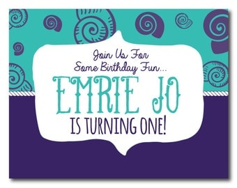 Mermaid/Under the Sea Theme First Birthday Invite